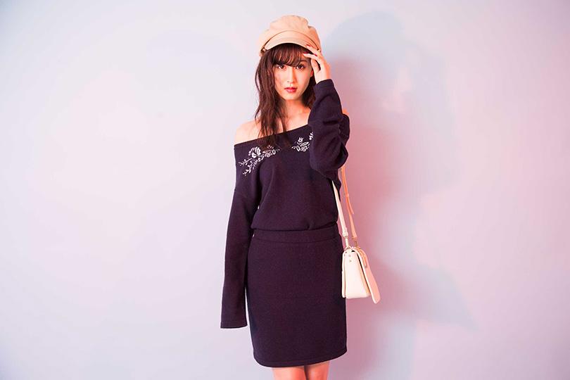 デートもショッピングにも♡ 阿部菜渚美が着こなす刺繍セットアップ