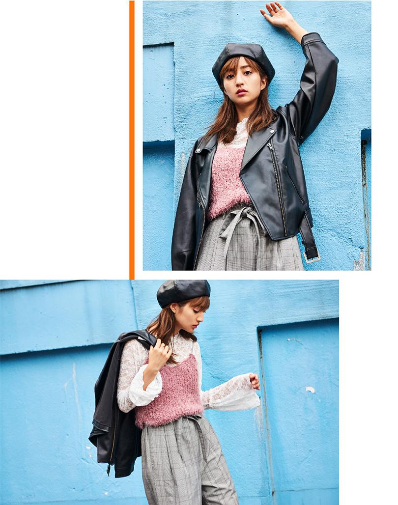 堀田茜が甘辛MIXに着こなし♡秋冬注目のシャギーキャミでつくる最新レイヤードスタイル