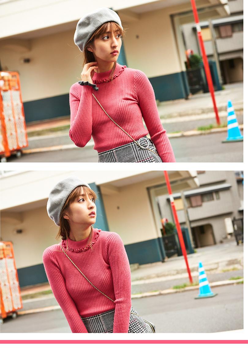 堀田茜が着こなし♡ピンクのタートルニットでつくるスイートなレトロコーデ