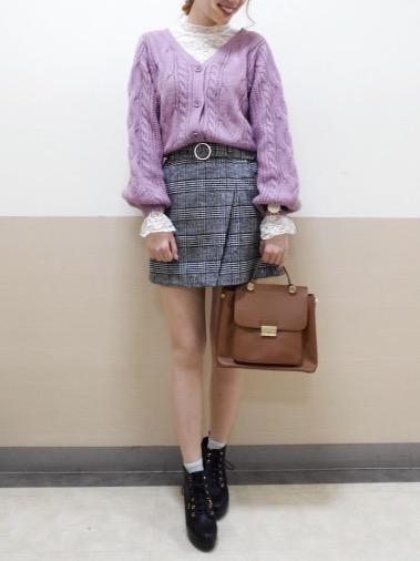 ニットやカラータイツと合わせたい♡ チェック柄ラップスカート